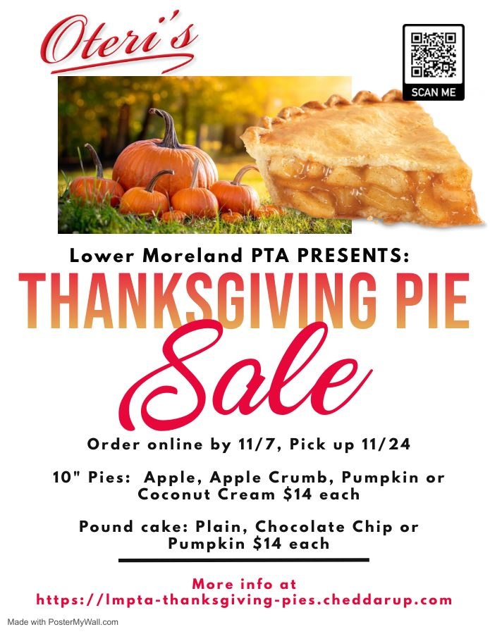 LM PTA Thanksgiving Pie (and Pound Cake) Sale